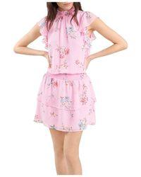 1.STATE Mock Neck Flutter Mini Dress - Pink