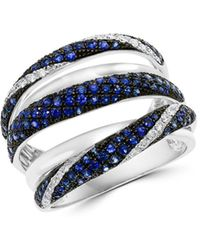 Bloomingdale's Blue Sapphire & Diamond Crossover Statement Ring In 14k White Gold