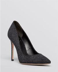 B Brian Atwood Pointed Toe Evening Court Shoes - Naina Sugar Textured High Heel - Black