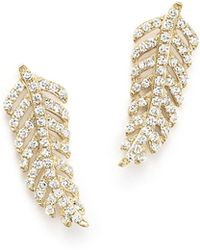 KC Designs Diamond Feather Stud Earrings In 14k Yellow Gold, .30 Ct. T.w. - Metallic
