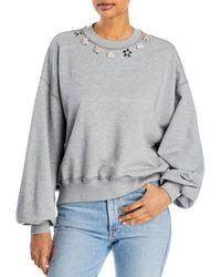 Cinq À Sept Brandy Embellished Sweatshirt - Grey