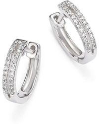 KC Designs - 14k White Gold Diamond Double Row Huggie Hoop Earrings - Lyst