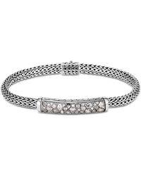John Hardy - Sterling Silver Classic Chain Extra-small Bracelet With White Diamond & Gray Diamond Pavé - Lyst
