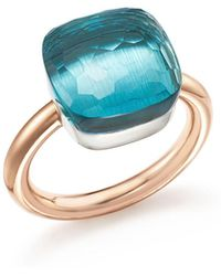 Pomellato   Nudo Maxi Ring With Blue Topaz In 18k Rose And White Gold   Lyst