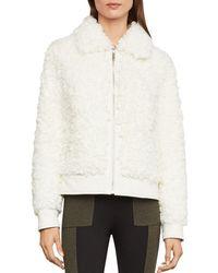 BCBGMAXAZRIA Mia Faux Fur Jacket - White