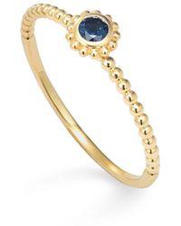 Lagos - 18k Gold And Round Blue Sapphire Stackable Ring - Lyst