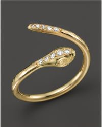 Zoe Chicco - 14k Yellow Gold And Diamond Snake Ring - Lyst