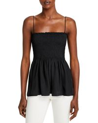 Theory Smocked Bustier Spaghetti Strap Top - Black