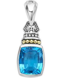 Lagos - 18k Gold And Sterling Silver Caviar Colour Pendant With Swiss Blue Topaz - Lyst