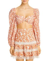 Bardot Embroidered Eyelet Paisley Cropped Top - Multicolor