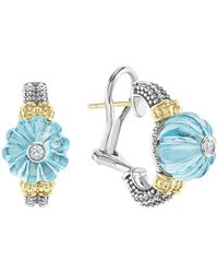 Lagos - 18k Gold & Sterling Silver Caviar Forever Diamond & Sky Blue Topaz Melon Bead Half Hoop Earrings - Lyst