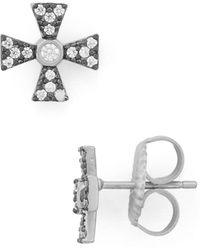 Freida Rothman - Thin Cross Earrings - Lyst