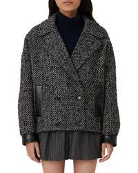 Maje Galine Marled Coat - Black