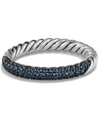 David Yurman - Petite Pavé Ring With Blue Sapphires - Lyst