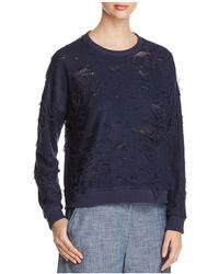 Kenneth Cole - Boxy Distressed Sweatshirt - Lyst