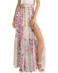 French Connection Ekeze Floral Striped Crinkle Maxi Skirt - Pink