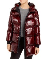 Herno Hooded Glossy Down Puffer Coat - Red