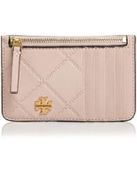 a9cd473bb63d Tory Burch Crinkle Metallic Leather Zip Card Case in Metallic - Lyst