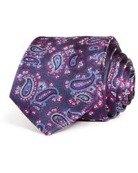 Bloomingdale's Exploded Paisley Woven Silk Classic Tie - Purple