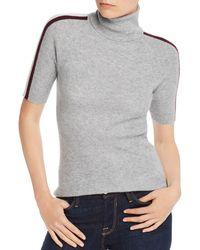Aqua Cashmere Track - Stripe Cashmere Turtleneck Sweater - Gray