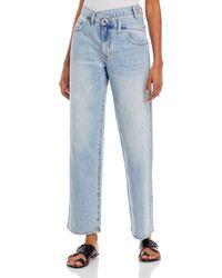 Pistola Bobbie Asymmetric Straight Jeans In Light Blue