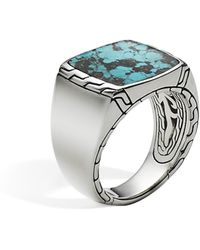 John Hardy - Men's Sterling Silver Classic Chain Signet Ring With Turquoise - Lyst