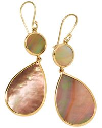 Ippolita - 18k Yellow Gold Polished Rock Candy Brown Shell Double Drop Earrings - Lyst