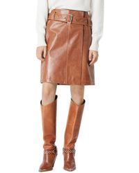 The Kooples Belted Leather Skirt - Brown