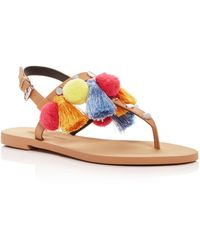 29a8b1d2b6ae03 Rebecca Minkoff - Women s Estelle Studded Pom-pom Thong Sandals - Lyst