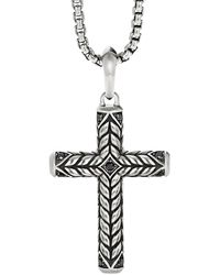 David Yurman Chevron Sculpted Cross Pendant With Pavé Black Diamonds
