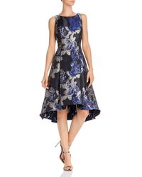 Adrianna Papell Metallic Floral Fit - And - Flare Dress - Blue