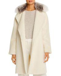 Maximilian Fox Fur - Collar Alpaca - Blend Coat - White