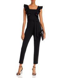 Aqua Ruffled Tie - Waist Jumpsuit - Black
