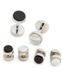 Bloomingdale's Polished Rhodium Reversible Stud And Cufflink Set - Metallic