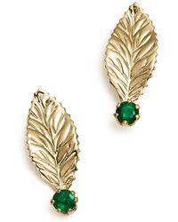 Bloomingdale's Emerald Leaf Earrings In 14k Yellow Gold - Metallic