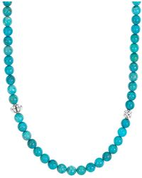 Lagos - Sterling Silver Caviar Icon Turquoise Beaded Station Necklace - Lyst