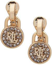 Ralph Lauren - Padlock Drop Clip - On Earrings - Lyst