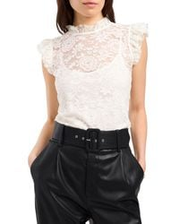 1.STATE 1. State Lace Flutter Sleeve Blouse - White
