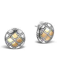 John Hardy   Sterling Silver & 18k Gold Naga Button Earrings   Lyst