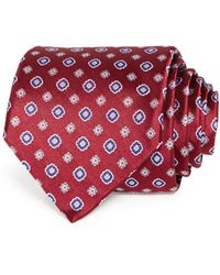 Bloomingdale's Mini Floral Medallion Silk Classic Tie - Red