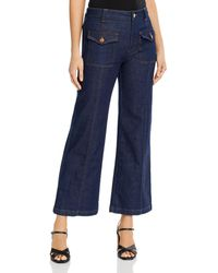 See By Chloé High - Waisted Wide - Leg Jeans In Royal Navy - Blue
