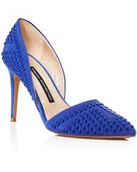 French Connection Court Shoes - Ellis Studded Pointed Toe - Blue