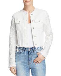 Guess - Appliqué-trimmed Frayed Denim Jacket - Lyst