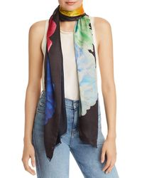 Echo Stacked Floral Oblong Scarf - Black