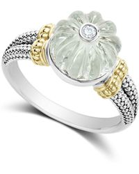 Lagos - 18k Gold & Sterling Silver Caviar Forever Diamond & Green Amethyst Melon Bead Ring - Lyst