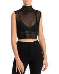 Hanky Panky Mila Sheer Crop Top - Black