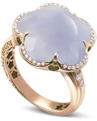 Pasquale Bruni - 18k Rose Gold Bon Ton Floral Blue Chalcedony & Diamond Ring - Lyst