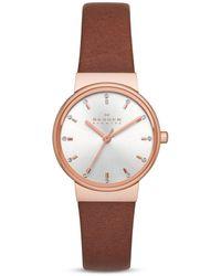 Skagen Ancher Leather Strap Watch, 26mm - Pink
