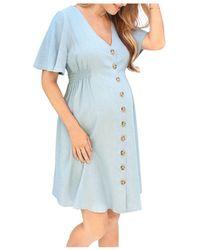 Ingrid & Isabel Flutter Sleeve Chambray Maternity Dress - Blue