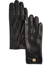 Kate Spade Bow Detail Leather Tech Gloves - Black